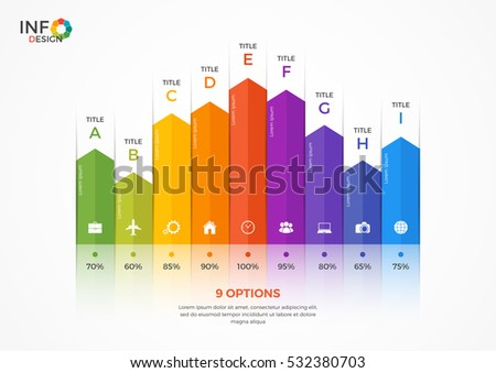 Column chart infographic template with 9 options.