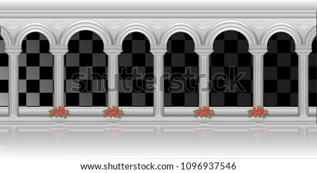 Columns and arches of the Palace architecture white isolated on a transparent background in a traditional style vector realistic 3D image