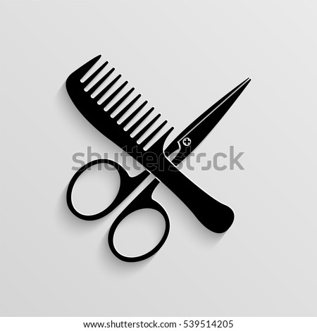 Comb and scissors vector icon with  shadow
