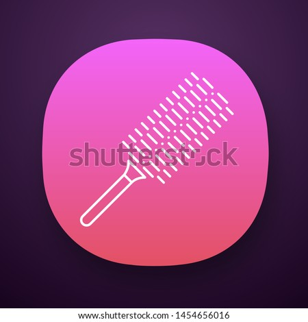 Comb app icon. Round brush to make volume hairdo. Hairbrush for heat styling. Woman hairdress. Hairdresser tool. UI/UX user interface. Web or mobile application. Vector isolated illustration