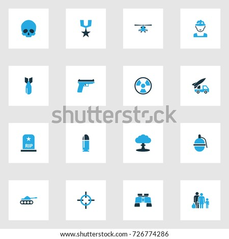combat colorful icons set