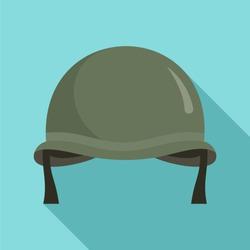 Combat helmet icon. Flat illustration of combat helmet vector icon for web design