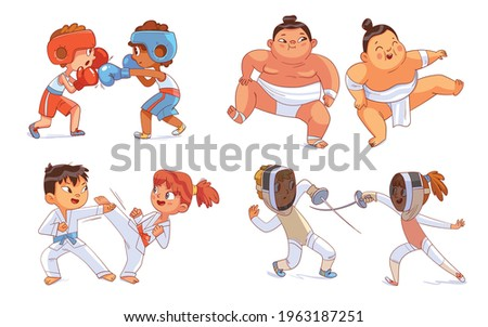 Combat sport. Set. Boxing, Sumo, Fencing, Karate. Colorful cartoon characters. Funny vector illustration. Isolated on white background Foto stock ©