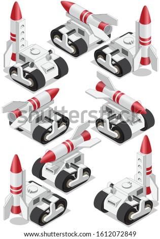Combat vehicle. Launcher. Isometric. Isolated on white background. Vector illustration.