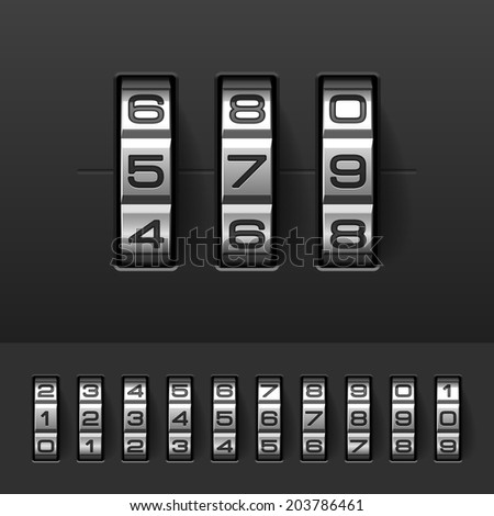 Combination, code lock numbers. Vector. Stock photo ©