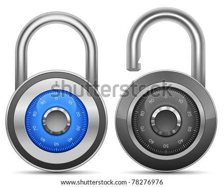 Combination Lock Collection. Security Concept. Vector illustration of ...