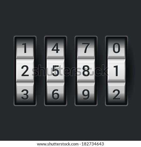 Combination lock number code. on dark background Vector