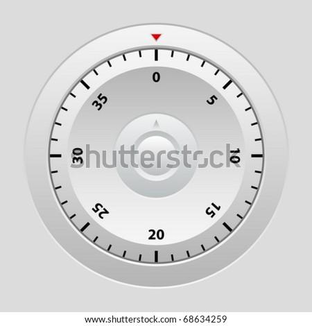 Combination lock on grey background. Vector illustration.