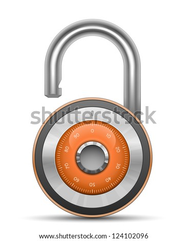 Combination Lock - Security Concept. Vector illustration of padlock