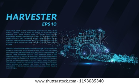 Combine agricultural machinery from particles on a dark background. Harvester consists of geometric shapes. Vector illustration.