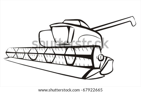Combine Harvester Isolated Sketch In Black Lines Stock ...