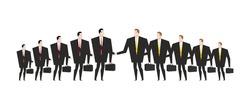 Combining corporations. Business deal. Merger. Managers shaking hands. Handshake office workers. Agreement between directors Man in biz suit and briefcase