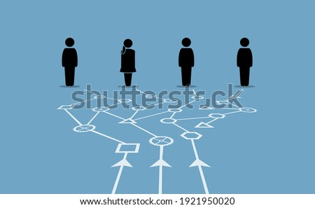 Combining different data to give valuable information for different people. Vector illustrations concept of data structure, network, pathway, and usages.  Сток-фото ©