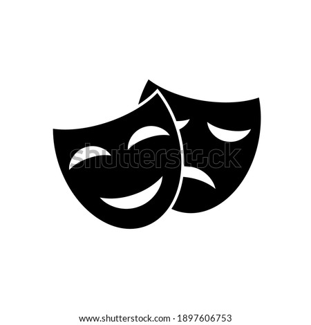Comedy and tragedy masks. Happy and unhappy traditional theater symbol icon. Vector illustration in a flat style. Stockfoto ©