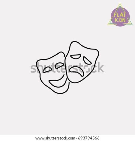 comedy and tragedy masks line