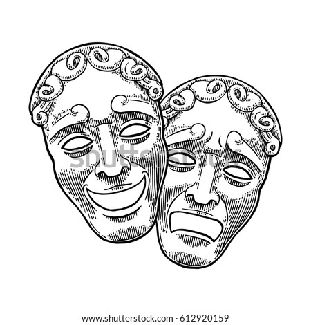 Comedy and tragedy theater masks. Vector engraving vintage black illustration. Isolated on white background.