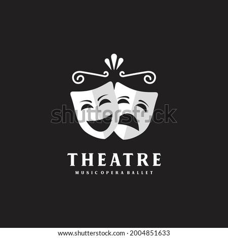 Comedy and tragedy theatrical masks. Theatre or drama school logo design symbol Stockfoto ©