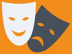 Comedy and tragedy theatrical masks. White and black. Flat style. Vector illustration