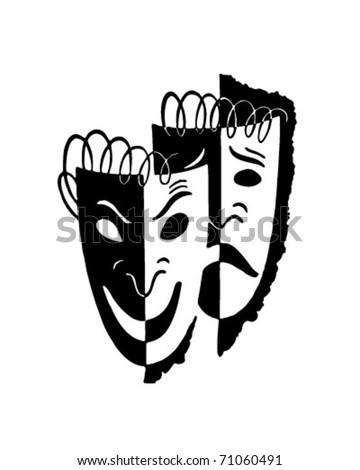 Comedy Drama Masks - Retro Ad Art Illustration