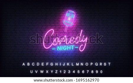 Comedy night neon template. Comedy lettering and glowing neon microphone Stock foto ©