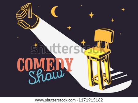 Comedy Show Concept With Bar Chair And Spotlight Vector Image