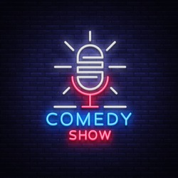 Comedy Show Stand Up invitation is a neon sign. Logo, Emblem Bright flyer, light poster, neon banner, brilliant night commercials advertisement, card, postcard. Vector illustration