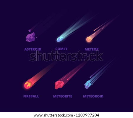 Comet asteroid and meteorite. Cartoon space objects. Atmospheric fireballs vector set