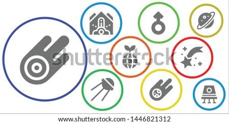 comet icon set. 9 filled comet icons.  Simple modern icons about  - Asteroid, Falling debris, Mars, Sputnik, Meteorite, Planet, Shooting star, Space capsule