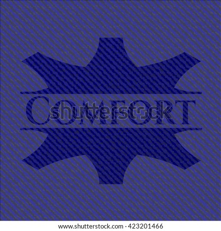 Comfort badge with denim texture