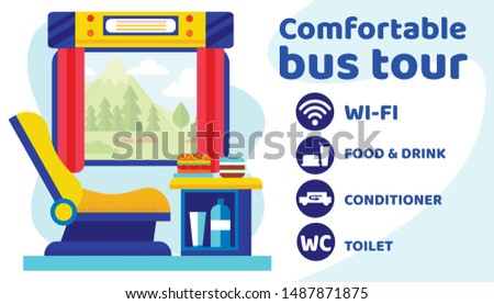 Comfortable Bus Tour Banner. Seat Place for Passenger with Wi-fi, Food and Drink, Conditioner, Toilet. Touristic Transport, Traveling Vehicle Tours Ad Promo Poster. Cartoon Flat Vector Illustration