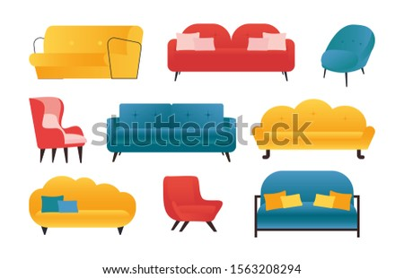 Comfortable sofas and armchairs. Vector flat modern house couch models. Domestic cozy sofa and chair furniture icons, isolated illustration set