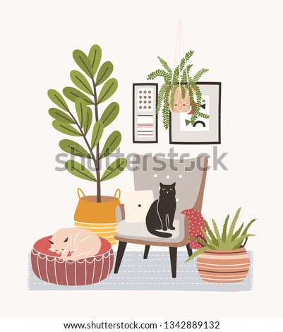 Comfy living room interior with cats sitting on armchair and ottoman, houseplants growing in pots, home decorations. Comfortable apartment decorated in Scandic hygge style. Flat vector illustration.