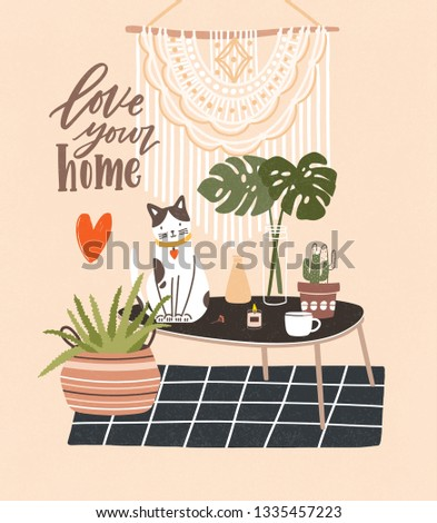 Comfy room with table, cat sitting on it, potted plants, home decorations and Love Your Home phrase written with cursive font. Cozy house decorated in Scandic hygge style. Flat vector illustration.