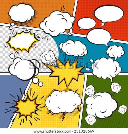 Comic blank text speech bubbles in pop art style set vector illustration