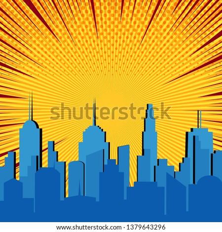 comic blue cityscape explosive