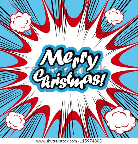 Comic book background Merry Christmas Card