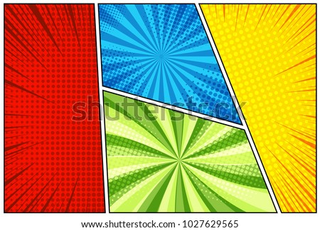 Comic Book Background With Halftone Rays Dotted And Radial Effects In Yellow Red Blue Green Colors