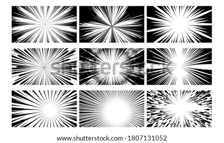 Comic book. Black and white texture action ray explosion. Abstract monochrome layout illustration. Radial comic book speed line vignetting cover set. Vector sketch picture frame with powerful ray beam Stockfoto ©