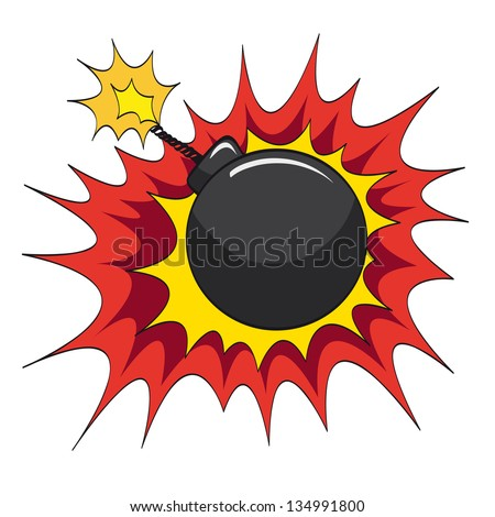 Comic book bomb explosion, vector illustration