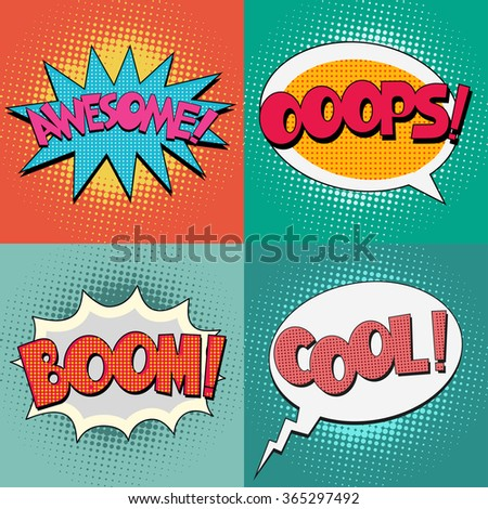 comic book bubble text set on a