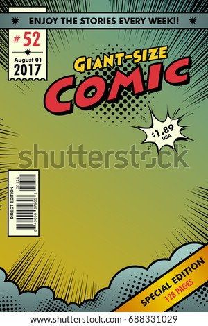 Comic book cover. Background colorful and gradient
