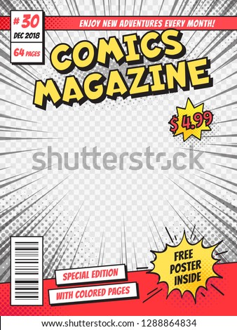 Comic book cover. Comics books title page, funny superhero magazine or comic pop art book cartoon title poster template isolated vector template