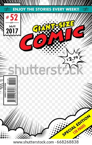 Comic book cover. Giant size with transparent background