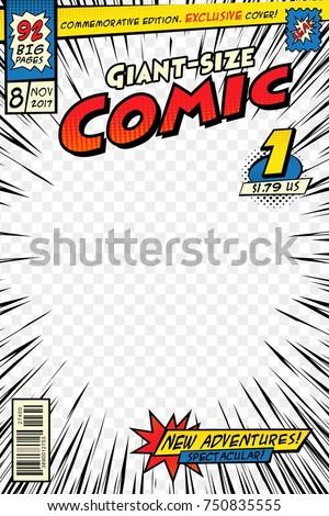 Comic book cover template. Art conceptual