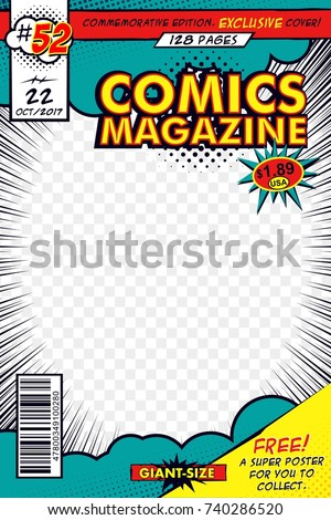 Comic book cover. Vector art with comic concept - Shutterstock ID 740286520