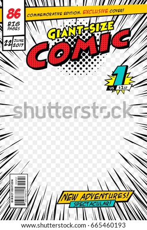 Comic book cover. Vector illustration style cartoon