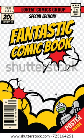 Comic book cover vector template. Comic book poster, illustration of magazine page editable