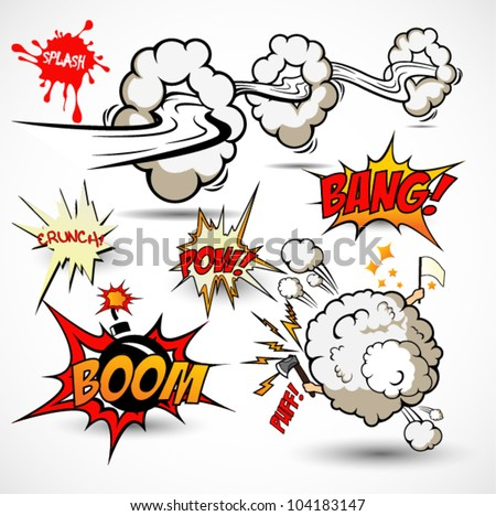 Comic Book Elements - Vector Cartoon Explosions