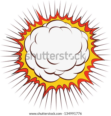 Comic book explosion boom, vector illustration