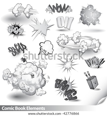 Comic Book Explosions - Vector Cartoon Elements - Monochrome Black and White Theme